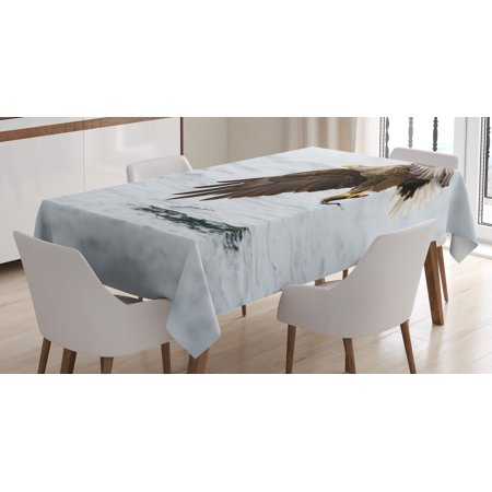 Eagle Tablecloth, Bird with Feathers on Head and Tail Catching a Fish Hunting Animal Food Chain, Rectangular Table Cover for Dining Room Kitchen, 52 X 70 Inches, Pearl Brown Yellow, by Ambesonne (Centerpieces With Feathers And Pearls)