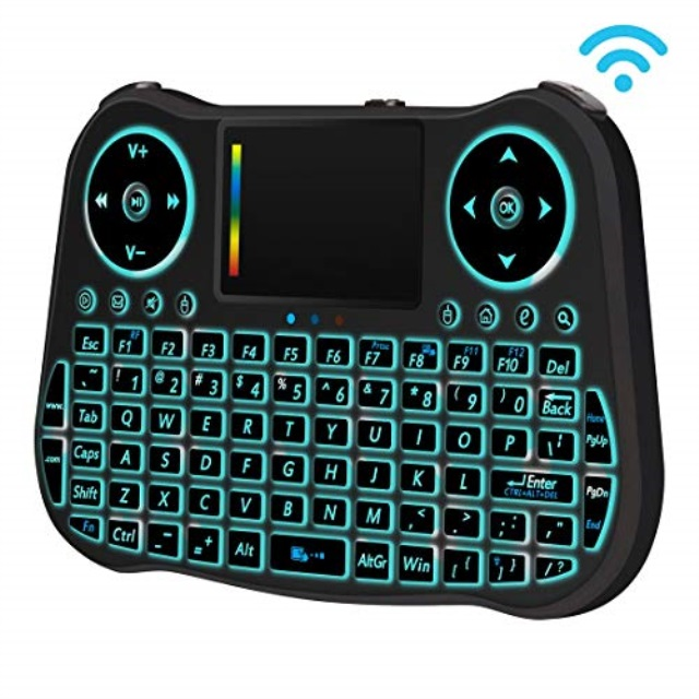 Black Color : Black Rcsbtd TV 2.4GHz Miniskirt Tuner Air Mouse QWERTY Keyboard with Colorful Backlight /& Touchpad /& Multimedia Control for PC