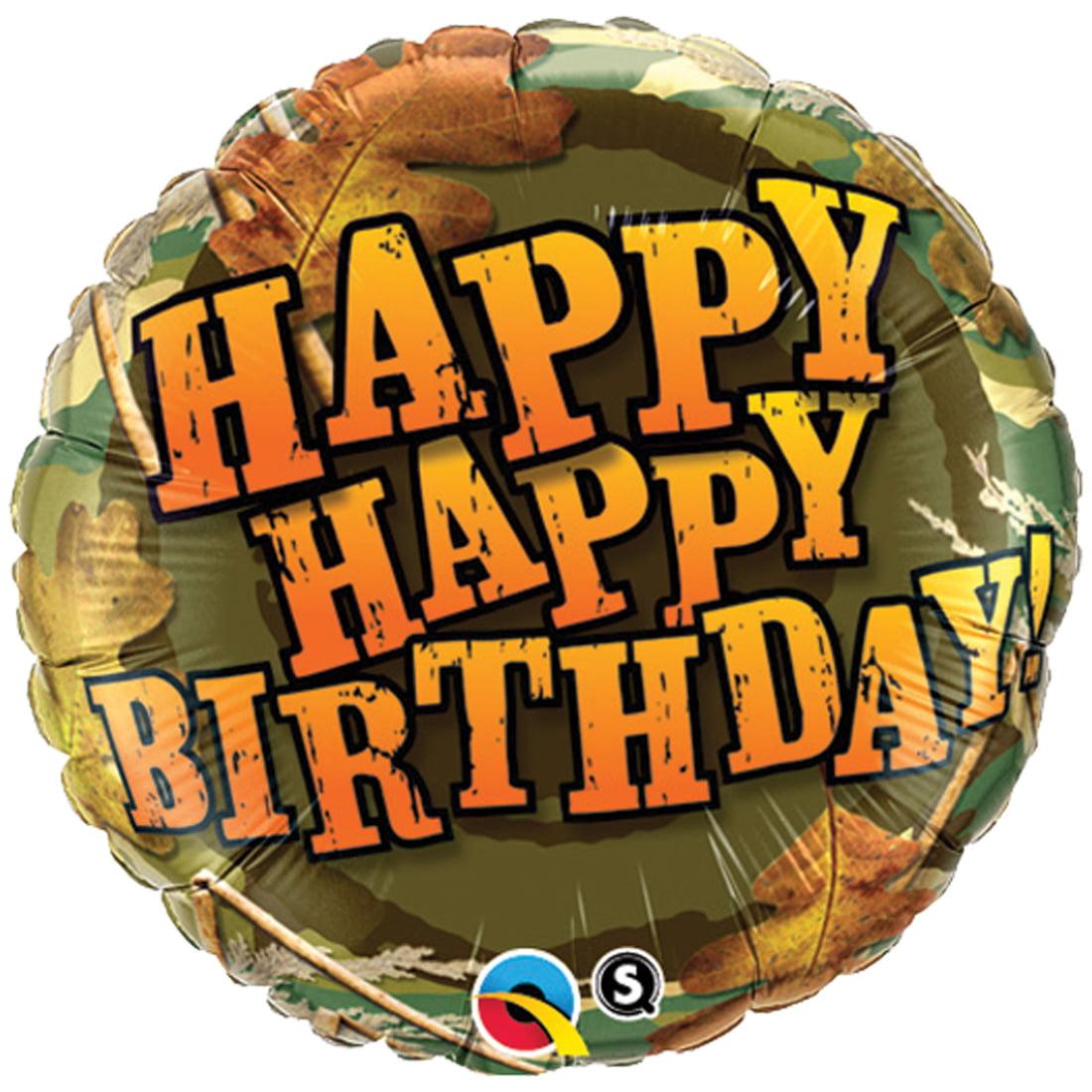 "Qualatex Happy Happy Birthday Supra 18"" Foil Balloon, Camouflage"