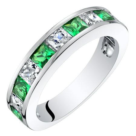 Sterling Silver Princess Cut Simulated Emerald Half Eternity Wedding Ring Band