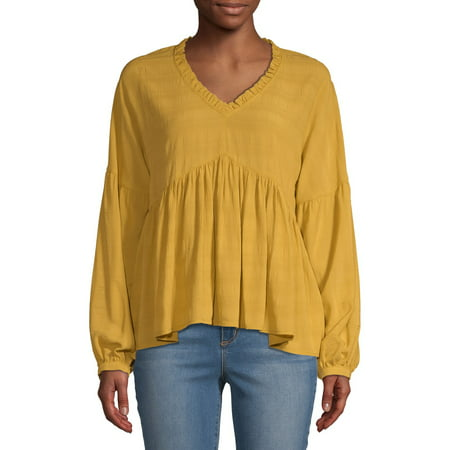 Image result for time and tru ruffle edge peasant top