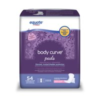Equate Body Curve Incontinence Pads for Women, Moderate, Regular, 54 Count