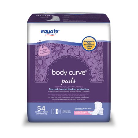 Curved Pads (Equate Body Curve Incontinence Pads for Women, Moderate, Regular, 54 Count )