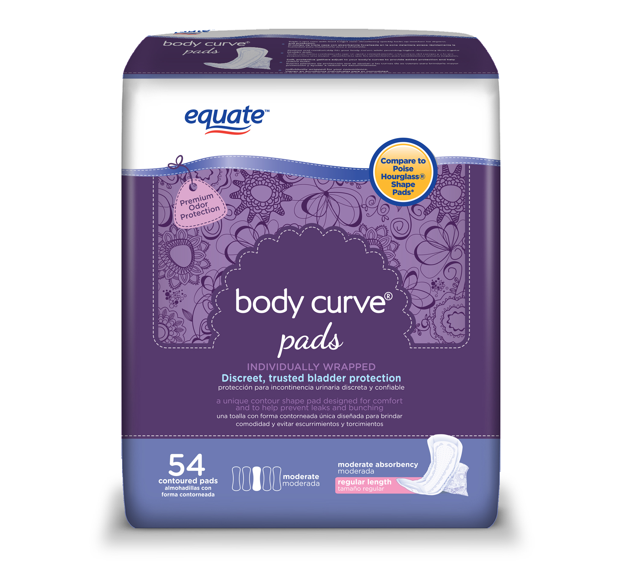 Equate Body Curve Incontinence Pads for Women, Moderate, Regular, 54 Ct