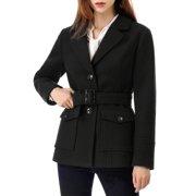 Unique Bargains Women's Notched Lapel Belted Pea Coat Black XS (US 2)
