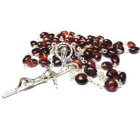 Amber Rosary Genuine Natural Baltic 5mm bead 18 inch long Hail Mary Lord