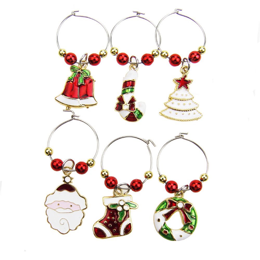 6PCS Wine Glass Charms Rings Marker Christmas Party Bar Table Decorations