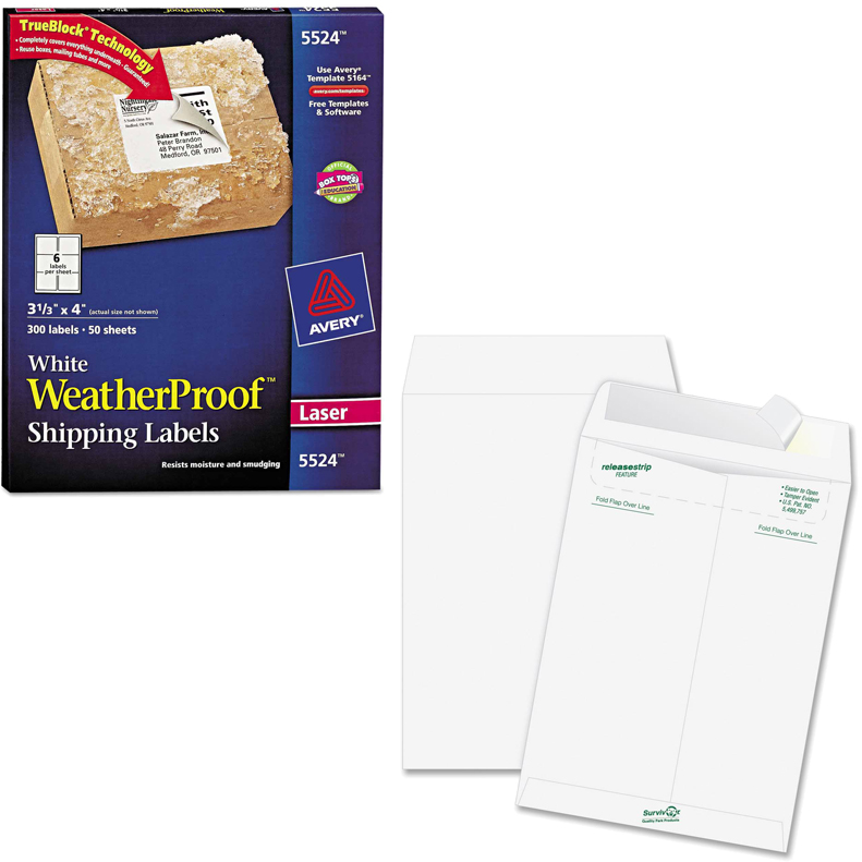 "Avery Weatherproof Laser Shipping Labels, 3-1/3"" x 4"", White, 300-Pack and Quality Park Survivor Tyvek Open-End Envelopes Bundle"