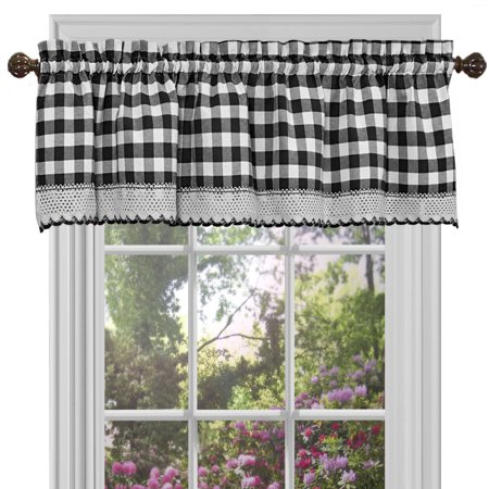 Plaid Checkered Country Farmhouse Rod Pocket Window Valance - Black/White