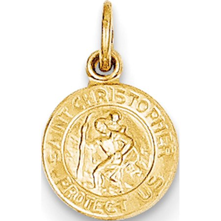 Saint Dominic Medal (14k Yellow Gold Saint Christopher Medal (8x14mm) Pendant / Charm )