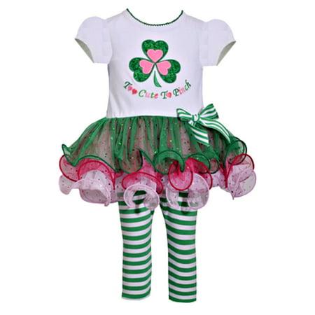 Newborn Baby Girls Green Too Cute To Pinch Clover Shirt Tutu and Striped  Leggings Set 0-3 months