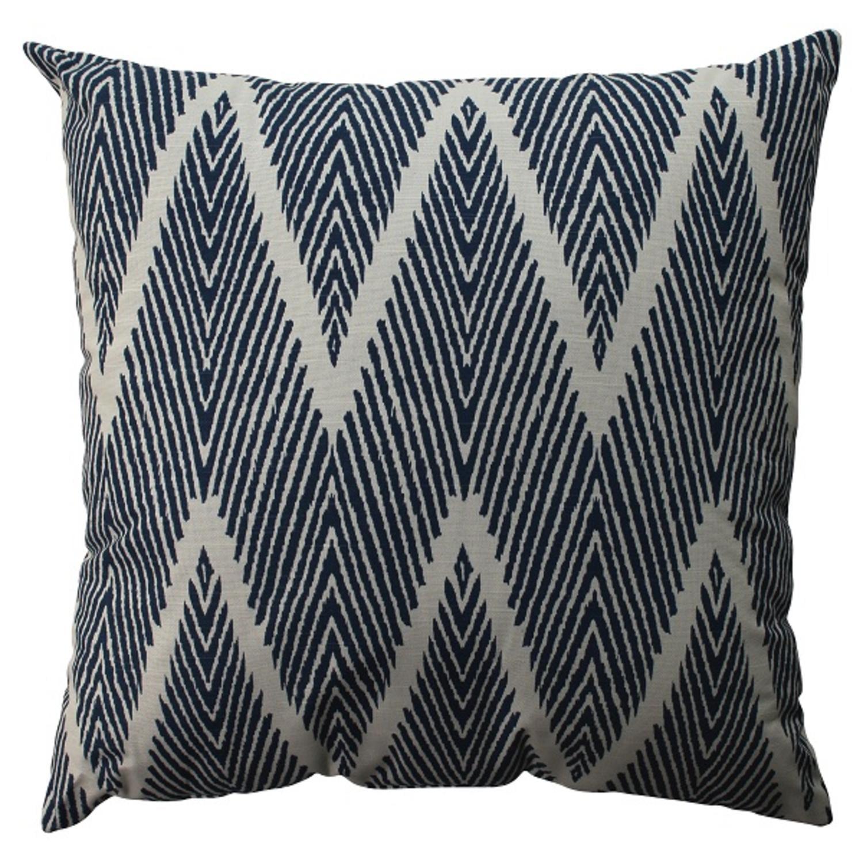 "23"" Navy Blue Zig Zag Zebra Print Decorative Floor Pillow"