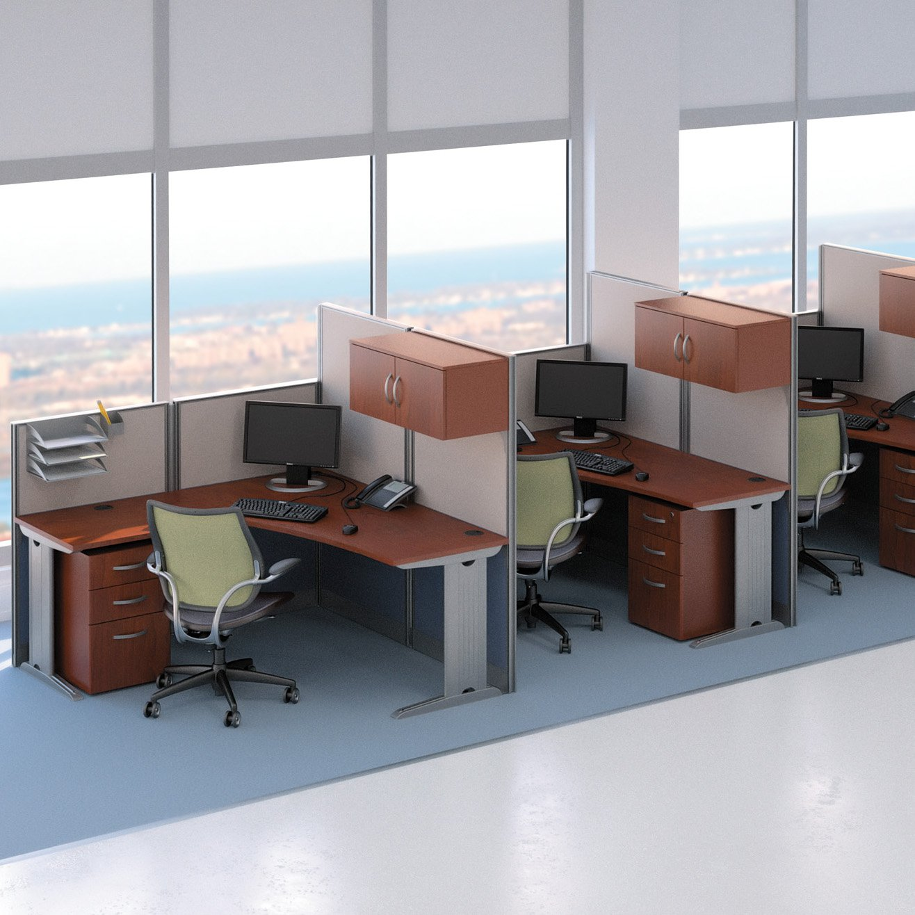 Bush Office-in-an-Hour L-Shaped Triple Workstation Computer Desk with Storage