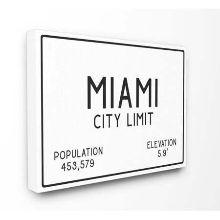 The Stupell Home Decor Collection Miami City Limit Stretched Canvas Wall Art