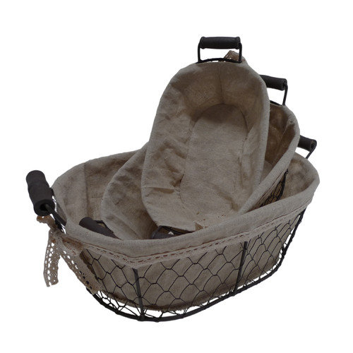 Cheungs Oval Lined Wire Basket (Set of 3)