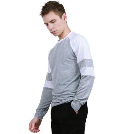 384ca51ad Men Crew Neck Contrast Color Raglan Sleeves Tee Shirt Light Gray S - image  1 of ...