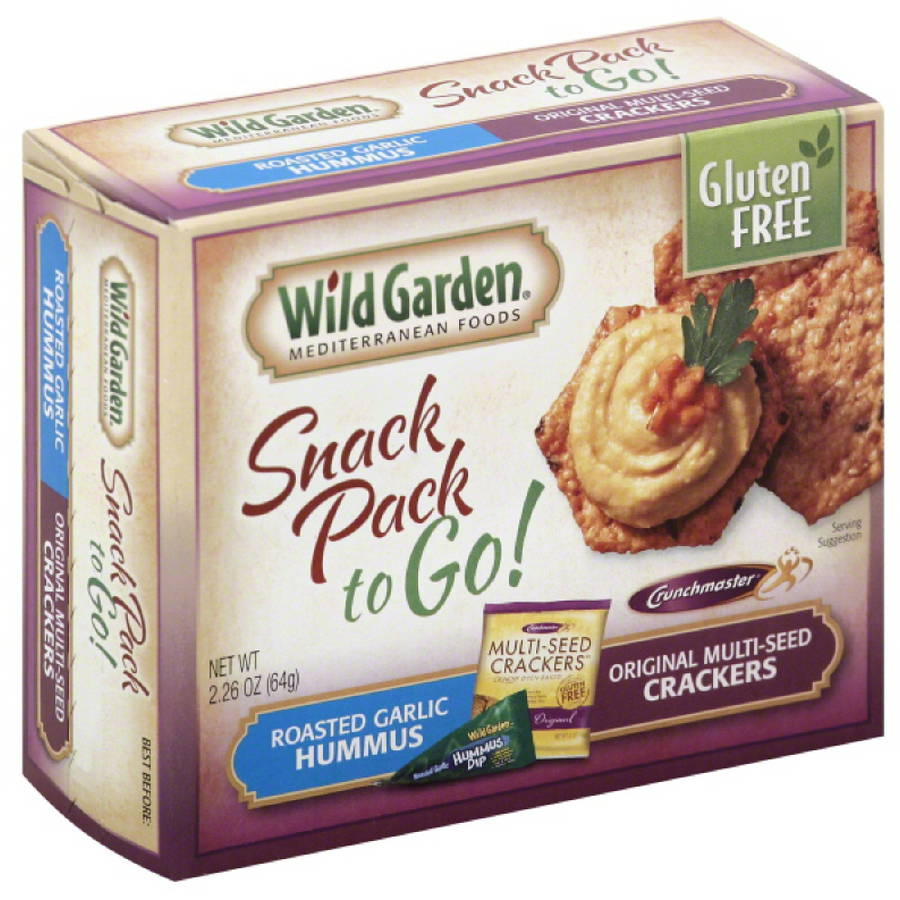 Wild Garden Roasted Garlic Hummus & Original Multi-Seed Crackers Snack Pack, 2.26 oz, (Pack of 6)
