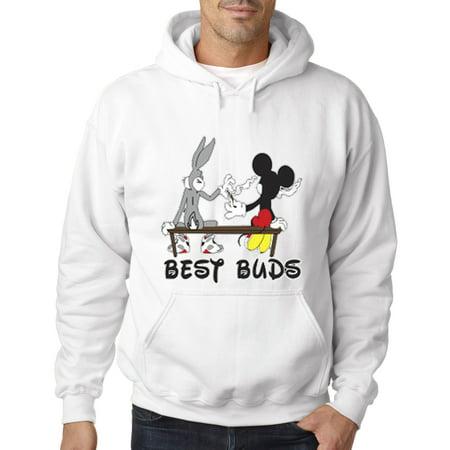 006 - Hoodie Best Buds Smoking Bench Mickey Bugs Cartoon