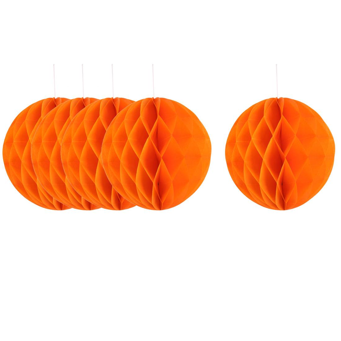 Holiday Festival Hanging Decor Foldable Honeycomb Ball Orange 10 Inch Dia 5pcs