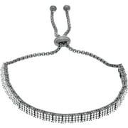 Lesa Michele Cubic Zirconia Black Rhodium over Sterling Silver Slider Bracelet in Sterling Silver