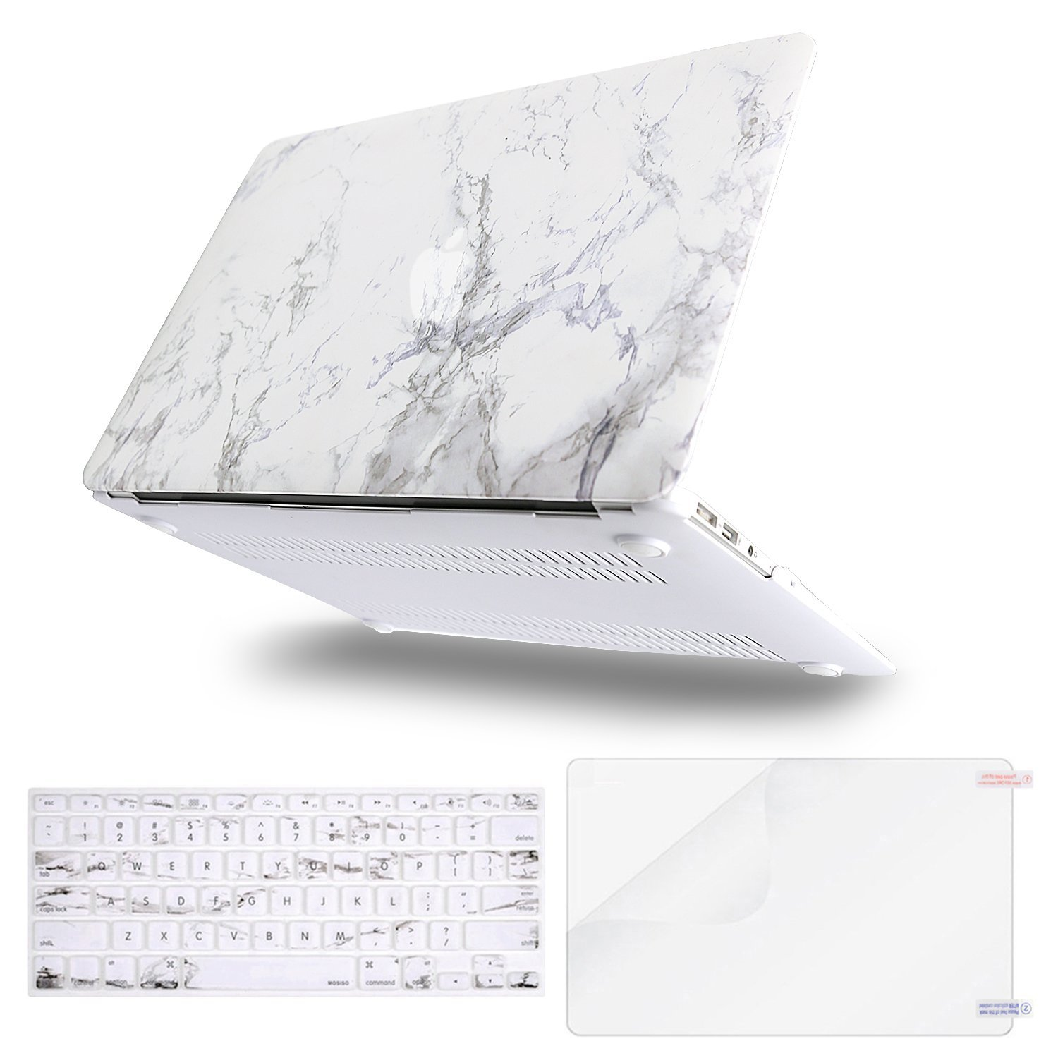 Mosiso Plastic Pattern Hard Case with Keyboard Cover with Screen Protector for MacBook Air 13 Inch (Models: A1369 & A1466,2010-2017 Year), White Marble