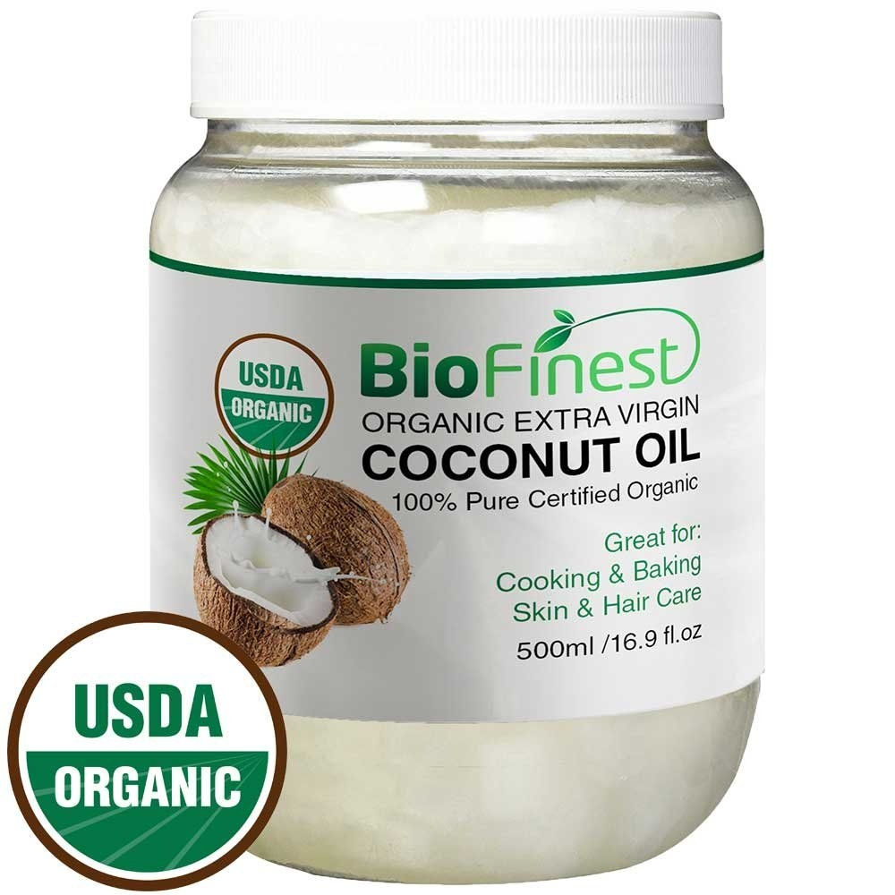 BioFinest 100% Organic Extra Virgin Coconut Oil - Unrefined & Cold-Pressed - Free Recipe EBook - Best For Cooking, Baking, Soothing Skin & Hair Moisturizer, 1 lb, 16 oz