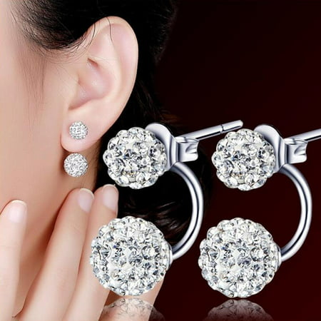 1 Pair Women Jewelry Silver Double Beaded Rhinestone Crystal Stud Earrings (Art Deco Rhinestone Earrings)