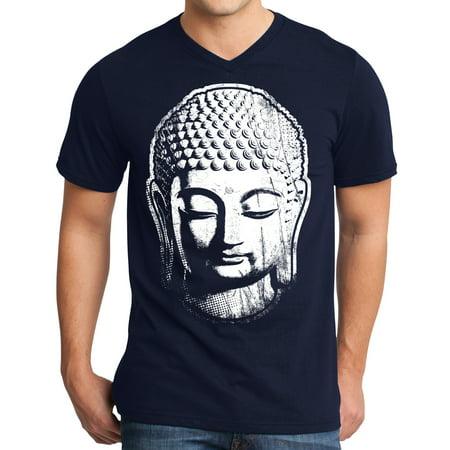 Mens Big Buddha Head Yoga V-neck Shirt - New Navy, Extra Small