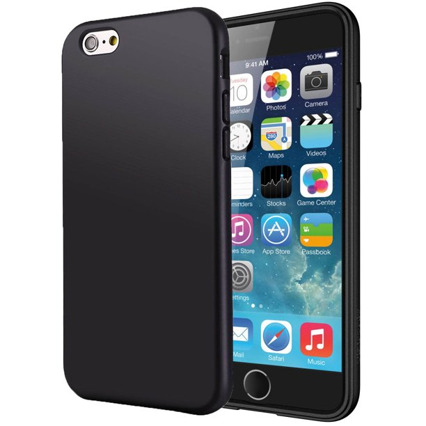MATTE BLACK FLEXIBLE TPU SKIN CASE SLIM COVER FOR APPLE iPHONE 6 6s (4.7