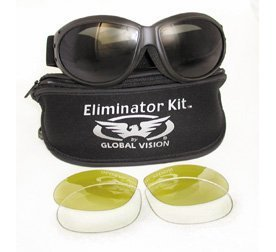 Matte Black Frame 1 Clear and 1 Smoke Lens Interchangeable Motorcycle Goggles