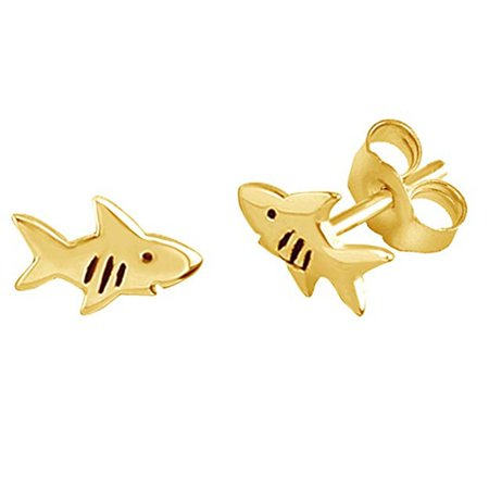 Shark Fish Stud Earrings 14K Yellow Gold Over Sterling Silver ()