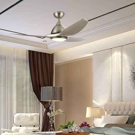 52-Inch Contemporary Ceiling Fan with Three Silver ABS Blades and White Glass LED Light Kit (15W 3000K) Brushed Nickel Finish Remote Control](Led Fan Light)