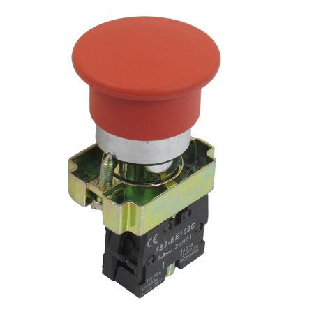 ZB2-BC42 NC Normally Closed Red Sign Mushroom Momentary Push Button Switch