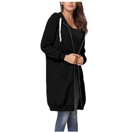 Women's Casual Zip Up Hoodie Coat for Women, Black / Green / Gray Solid Color Long Jacket for Juniors, S-2XL ()