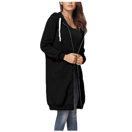 Women's Casual Zip Up Hoodie Coat for Women, Black / Green / Gray Solid Color Long Jacket for Juniors, S-2XL