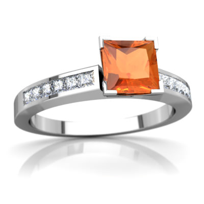 Fire Opal Channel Set Ring in 14K White Gold by