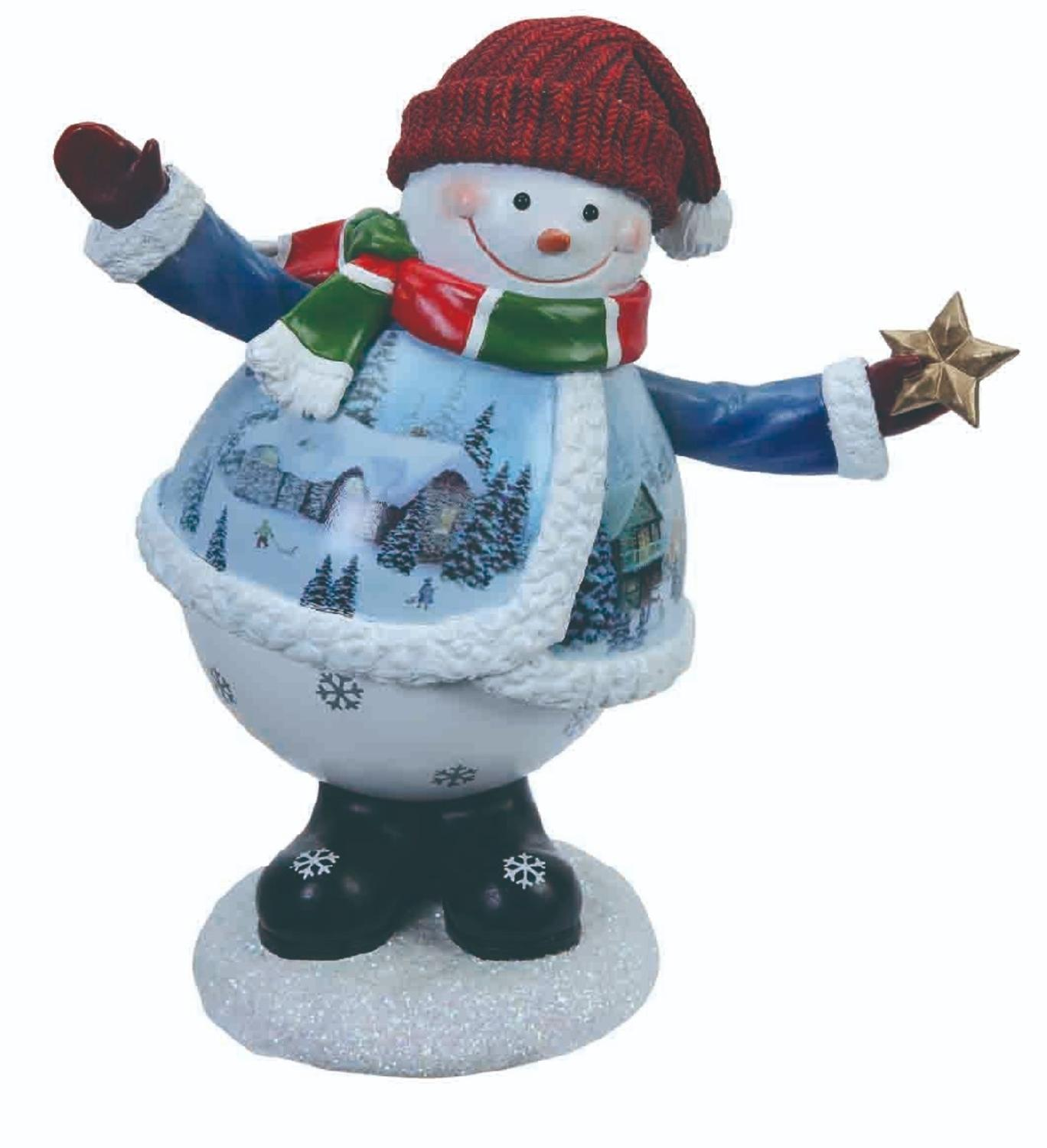 Pack of 2 Musical Winter Waving Snowman Table Top Figures 6.5""