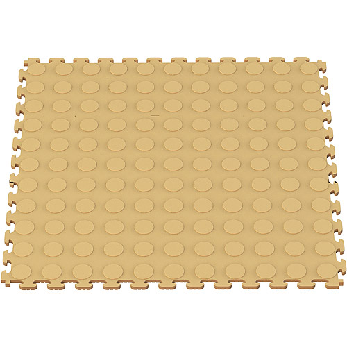 Norsk NSMPRC6BE Raised Coin Pattern PVC Floor Tiles, 13.95-Square Feet, Beige, 6-Pack