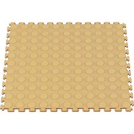 Norsk NSMPRC6BE Raised Coin Pattern PVC Floor Tiles 5- Pack plus BONUS Pack Value Bundle, Beige