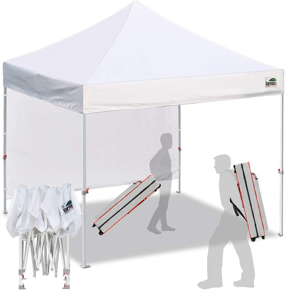 eurmax smart 10 x10 pop up canopy tent sport event outdoor festival tailgate event vendor craft show canopy instant shelter with 1 removable sunwall