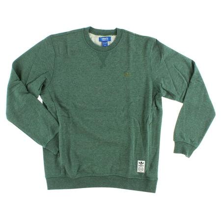 Adidas Mens Premium Essentials Crew Sweatshirt Premium Green Melange (Adidas Green)