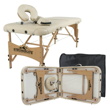 STRONGLITE Portable Massage Table Package Olympia - All-In-One Treatment Table w/ Adjustable Face Cradle, Pillow, Half Round Bolster & Carrying Case (28