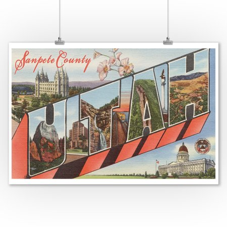 Sanpete county utah large letter greetings 9x12 art print wall decor travel poster Home decor stores utah county