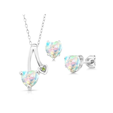 2.26 Ct White Simulated Opal Green Simulated Peridot 925 Silver Pendant Earrings Set 925 Silver Earrings Pendant