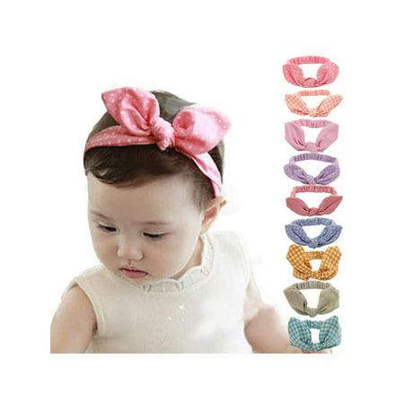 Coxeer 9 Pcs Rabbit Ear Headband Bowknot Hair Band Accessories for Baby Girls - Elephant Ears Headband