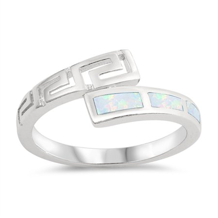 925 Sterling Silver Greek Key - White Simulated Opal Greek Key Filigree Midi Ring ( Sizes 5 6 7 8 9 10 ) .925 Sterling Silver Band Rings by Sac Silver (Size 8)
