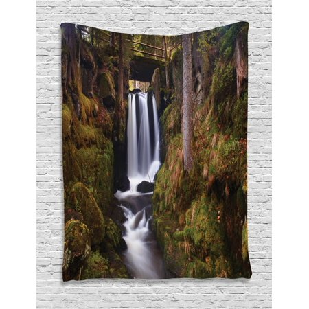 Waterfall Tapestry, Magical Waterfall Under Old Wooden Bridge in Forest Exotic Nature Theme, Wall Hanging for Bedroom Living Room Dorm Decor, Green Brown White, by Ambesonne