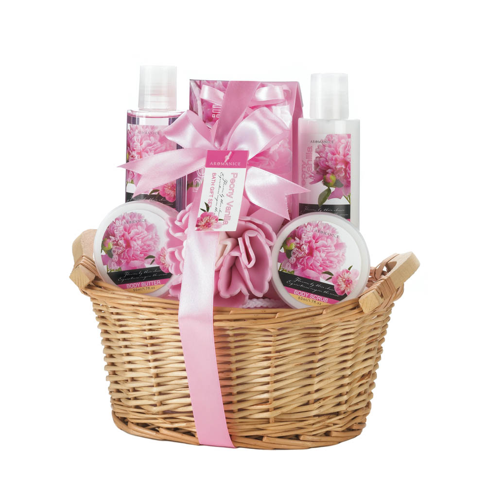 spa gift baskets for women, best holiday gift baskets, peony vanilla