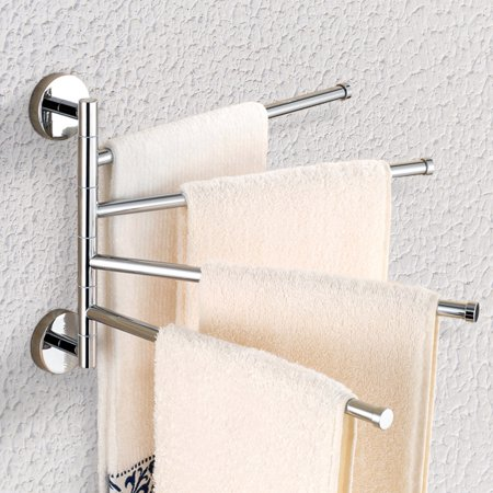 Eecoo New Home Bathroom Stainless Steel Wall Mounted 4 Swivel Towel