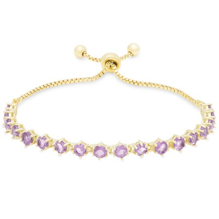 (Dolce Giavonna  Gold Over Sterling Silver Gemstone Tennis Style Adjustable Slider Bracelet)